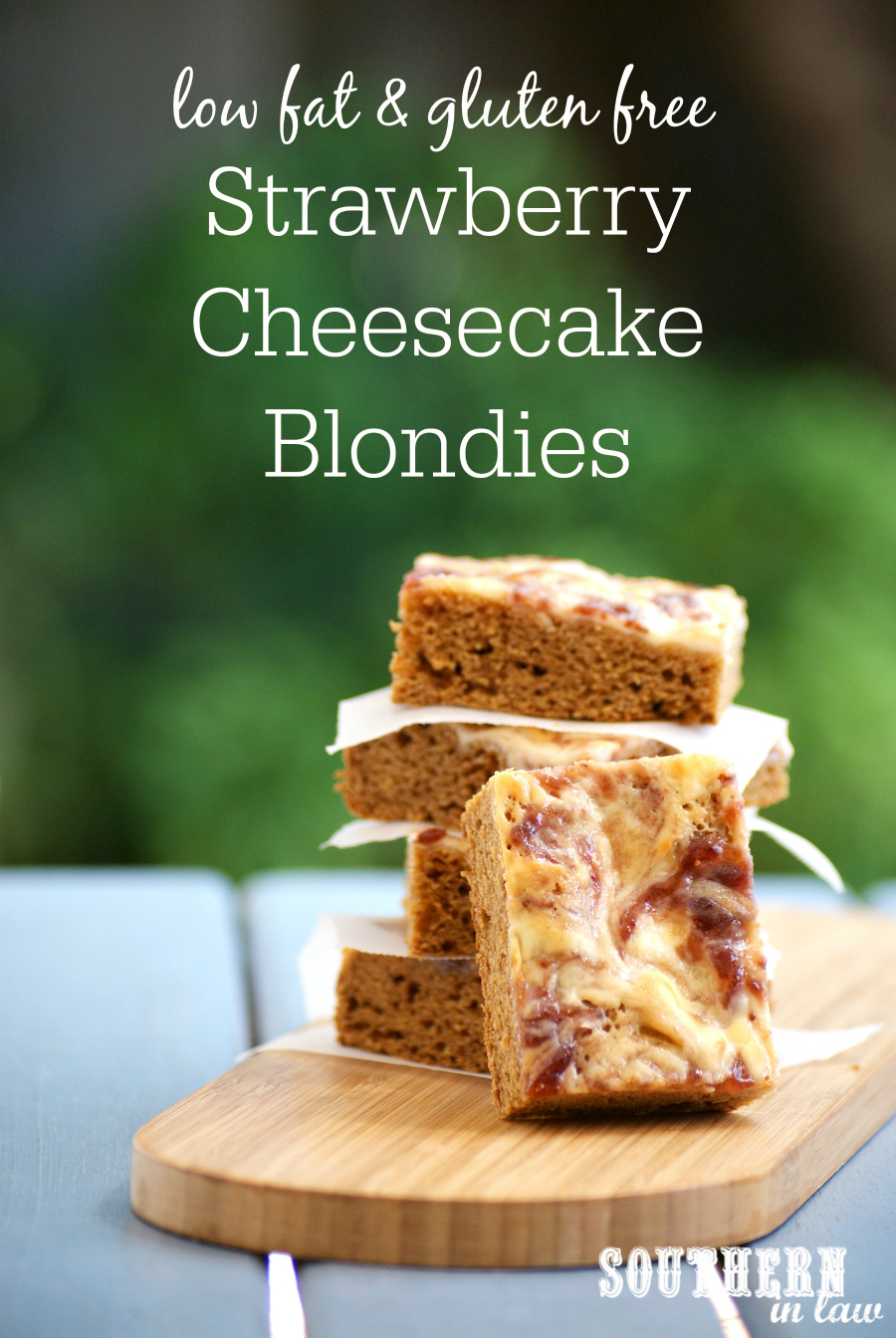 Healthy Strawberry Cheesecake Swirl Blondie Recipe
