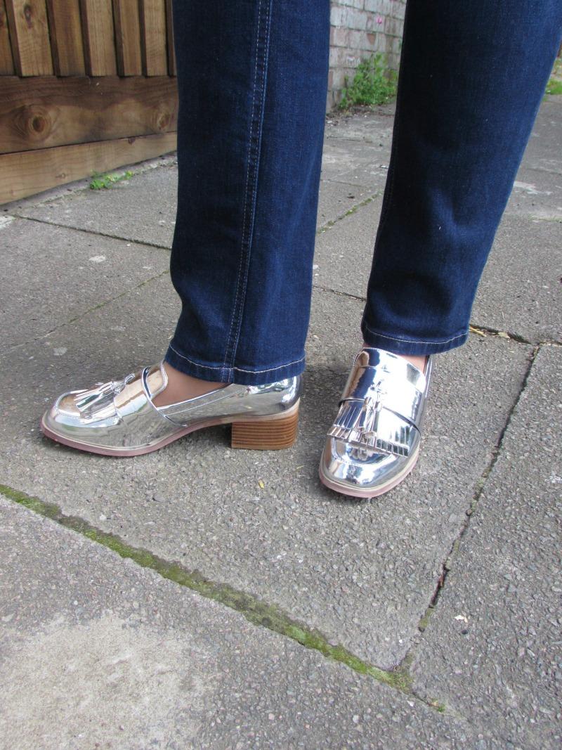 Asos metallic loafers
