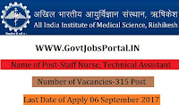 All India Institute of Medical Sciences Recruitment 2017– 315 Office Assistant, Staff Nurse, Technical Assistant