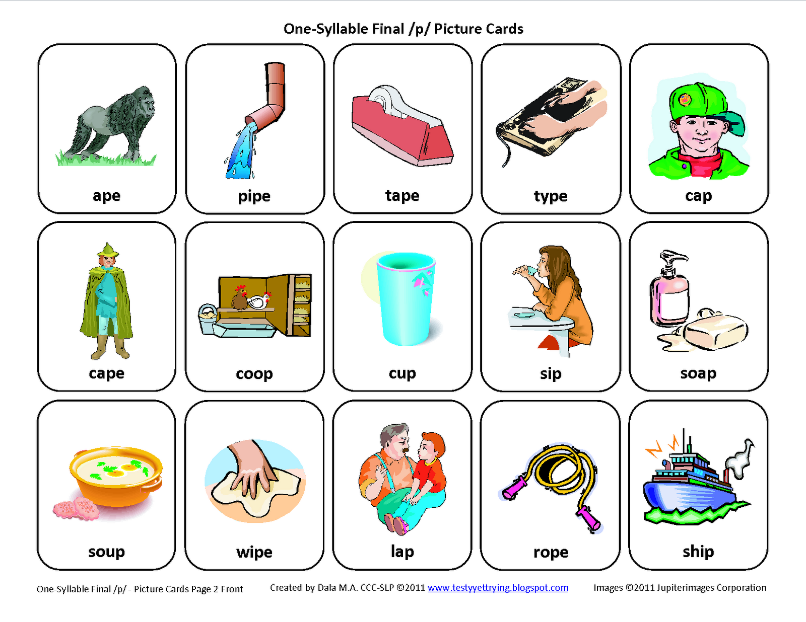Testy Yet Trying Final P Free Speech Therapy Articulation Picture Cards