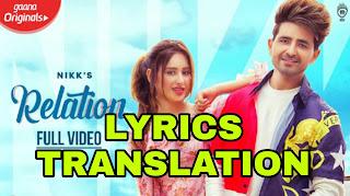 Relation Lyrics in English | With Translation | – Nikk | Mahira Sharma