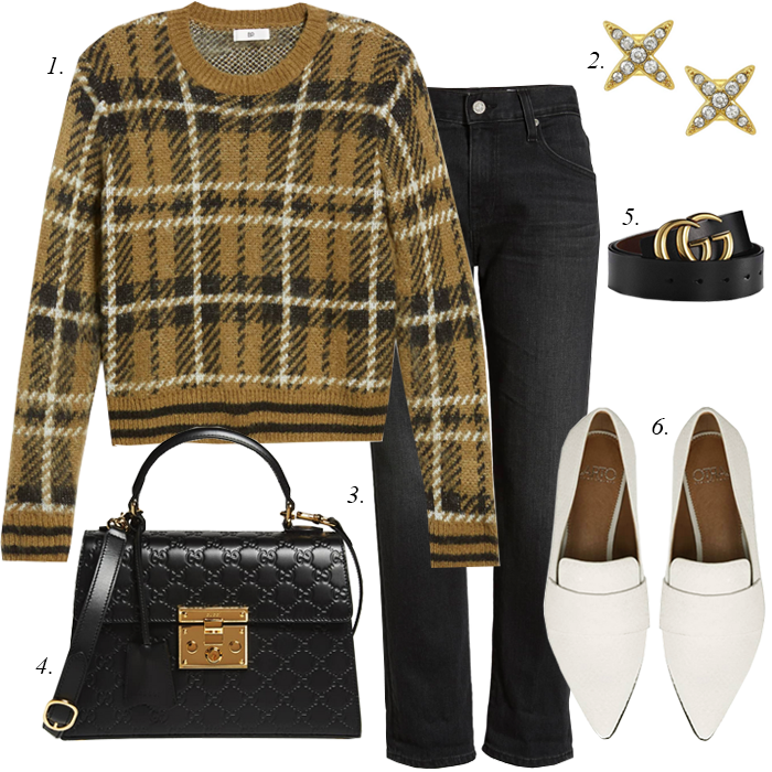 plaid sweater gucci black satchel crop flare jeans trends 2019