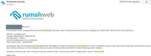 info domain telah aktif