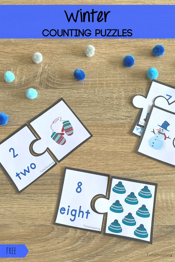FREE printable Winter themed puzzles for preschool kids to practice counting and number recognition.