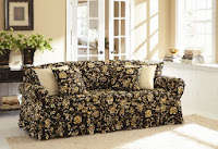 Two Tone Matelasse Damask One Piece Sofa Slipcover Sectional Size Sure Fit Slipcovers: Living Room / Sectionals Throws
