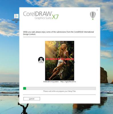 Phần mềm Corel X7 đang được chạy cài đặt