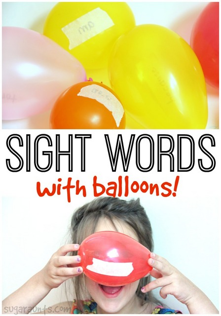 Sight word activity with balloons