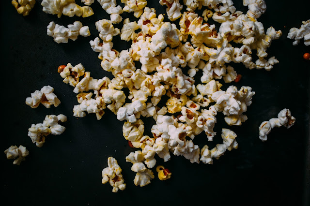 Popcorn on a black table