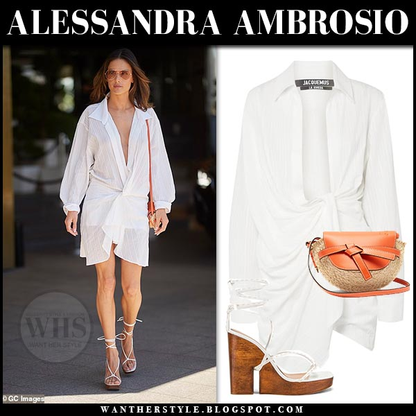 cdb62d16b44501 Alessandra Ambrosio in white draped jacquemus mini dress and jacquemus  wedge sandals. Celebrity cannes street
