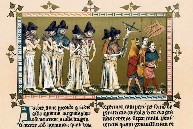 Procissão de flagelantes pedindo o fim da peste.