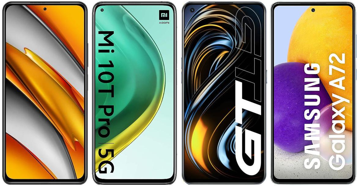 Xiaomi POCO F3 vs Xiaomi Mi 10T Pro vs Realme GT vs Samsung Galaxy A72