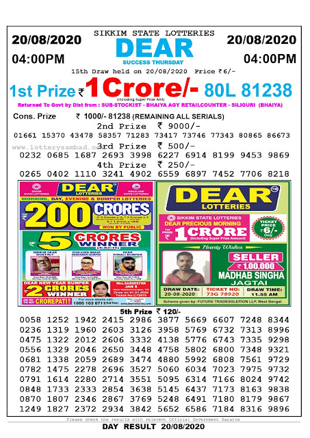 Lottery Sambad Result 20.08.2020 Dear Success Thursday 4:00 pm