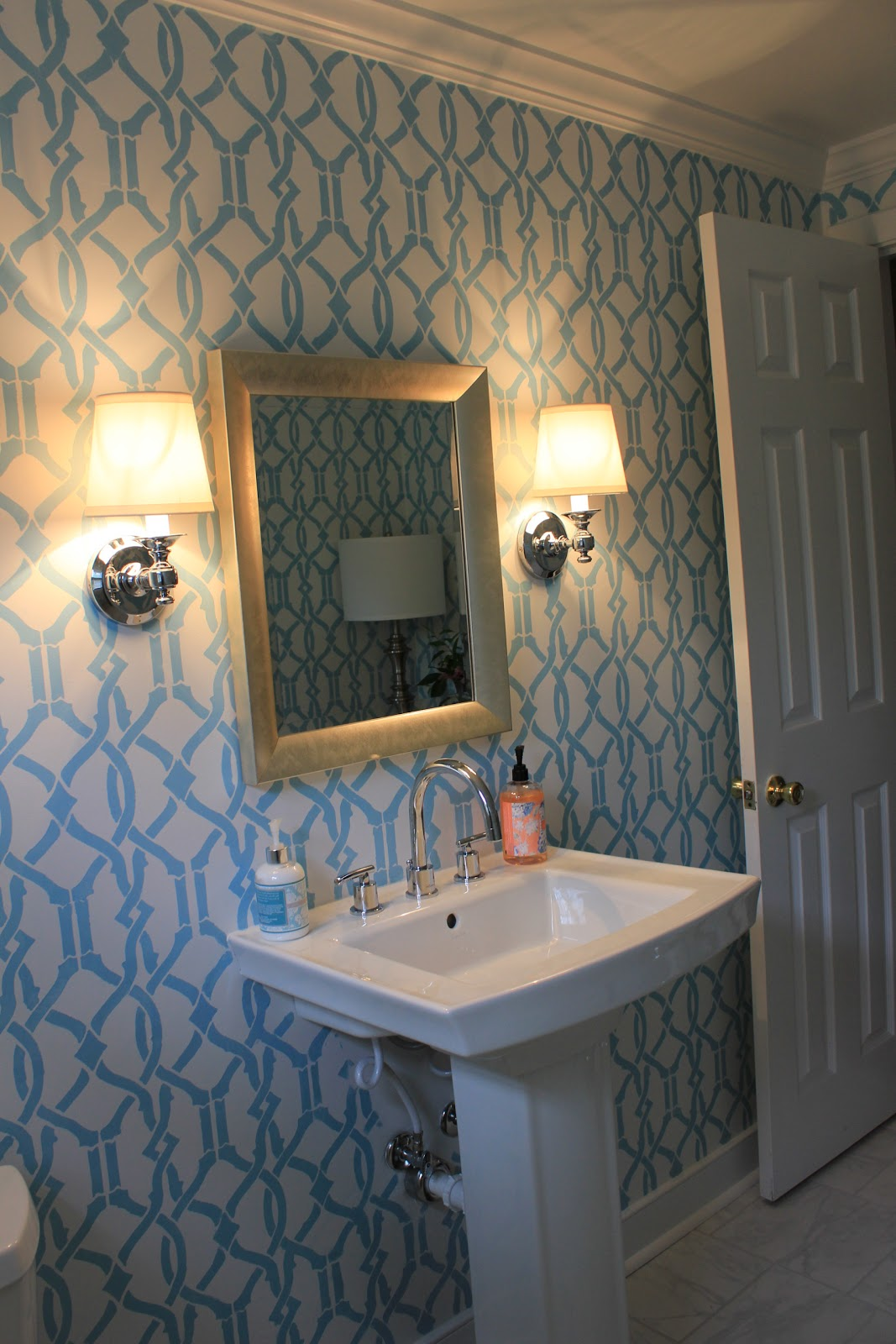 Westhampton diy how to stencil a room powder room remodel - Powder room remodel ideas ...