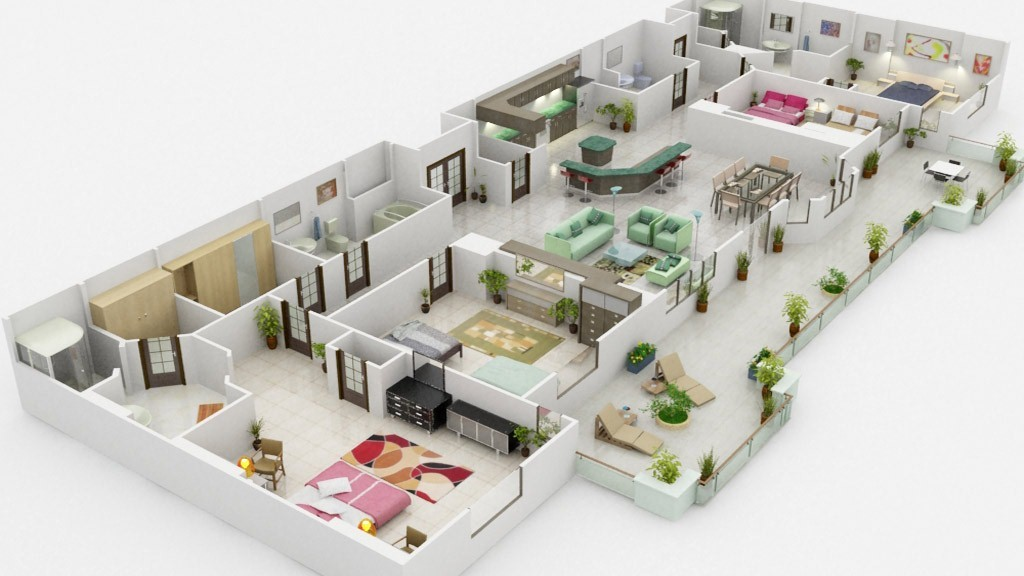 3D Floor Plan Rendering  Custom Of Floor 2