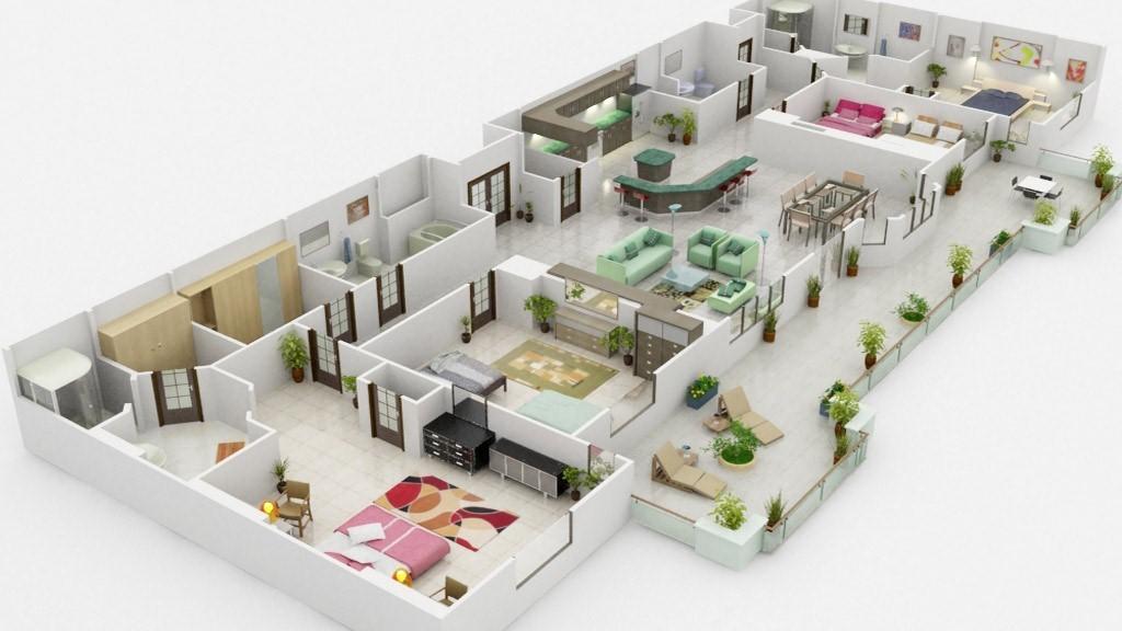 3D Floor Plan Rendering  Custom Of Floor 2