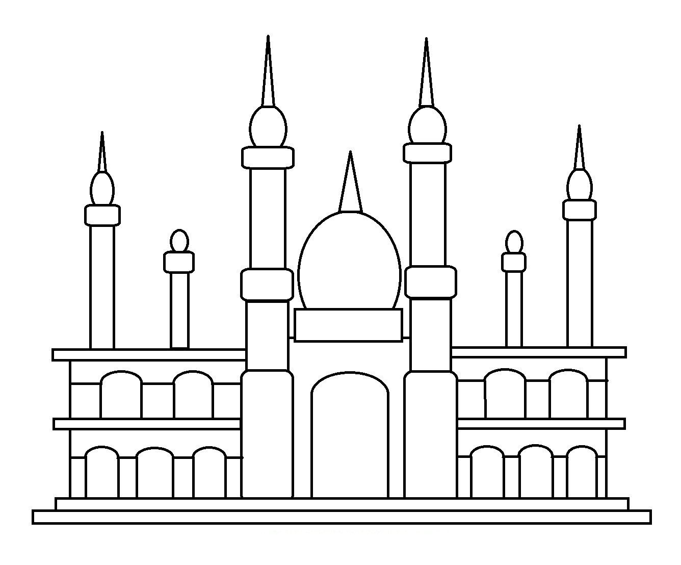 Gambar Masjid Untuk Mewarnai 50 Gambar Mewarnai Yang Seru Dan