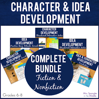 Standards-based Middle School ELA Developing Characters and Ideas Unit with BUILT-IN differentiation for content, process, and product using the teach-reteach-enrich format! #teaching #lessonplans