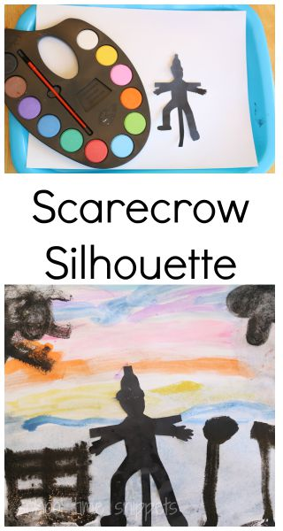 fall art project scarecrow silhouette