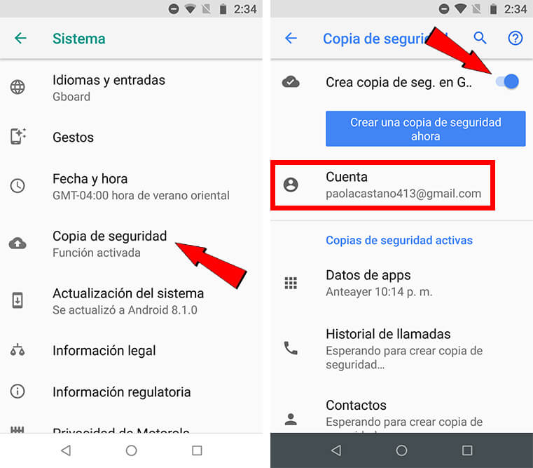 datos de copia de seguridad de Android