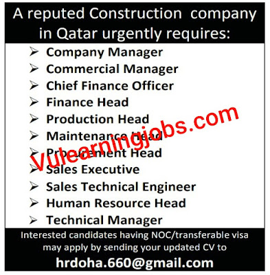 Construction Company Jobs In Qatar For Manager, Finance Officer, Maintenance Head & Other Latest