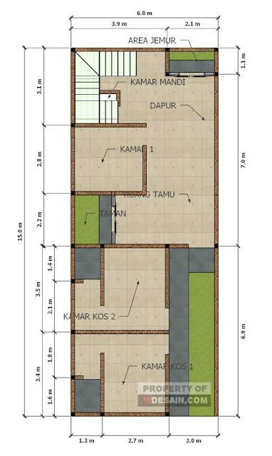 Denah Rumah Minimalis 3 Kamar Tidur 1 Mushola Desain Rumah Minimalis