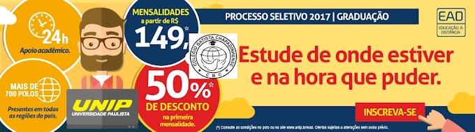 O Colégio Batista Chapadinhense e UNIP avisam que se encontram abertas as inscrições do processo seletivo 2017.