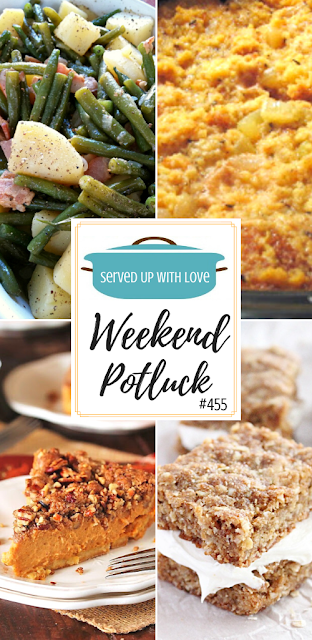 Weekend Potluck featured recipes - Slow Cooker Cornbread Dressing, Pecan Streusel Pumpkin Pie, Oatmeal Cream Bars, Southern Green Beans and Potatoes