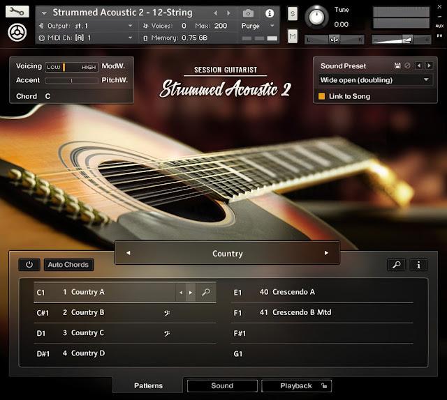 Interface da Library Native Instruments - Session Guitarist: Strummed Acoustic 2 (KONTAKT)