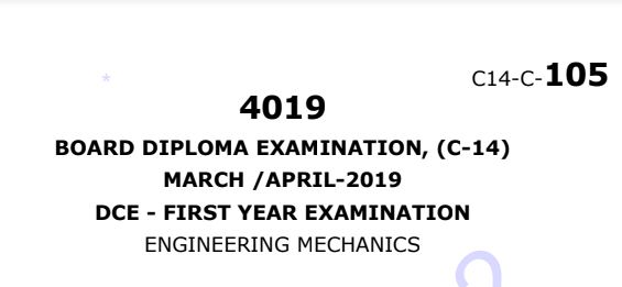sbtet Engineering Mechanics Previous Question Paper c14 March/April 2019