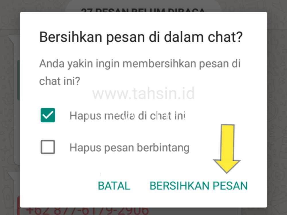 bersihkan chat wa