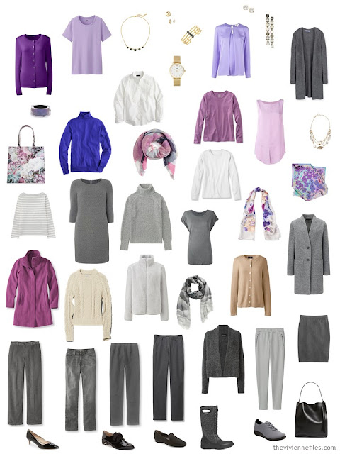 A capsule wardrobe in shades of grey and purple