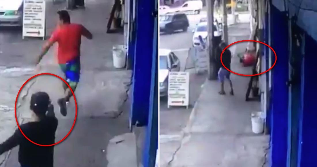 Captan momento en que sicarios corretean y ejecutan a quemarropa a un hombre por las calles de Acapulco, militares los detienen