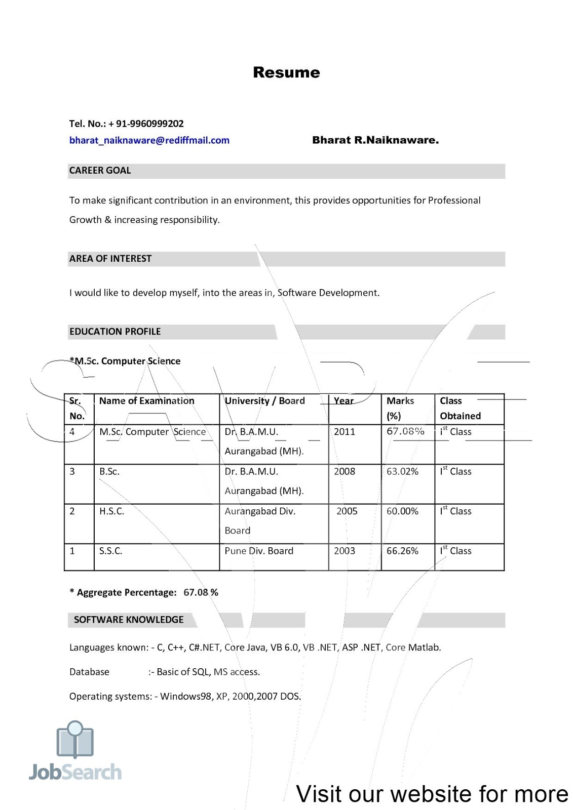 Job Resume Pdf 2020 Job Resume For Freshers Resume Templates