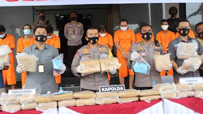 Konferensi Pers Polda Banten: Berhasil Ungkap 159 Kg Ganja Sindikat Antar Provinsi
