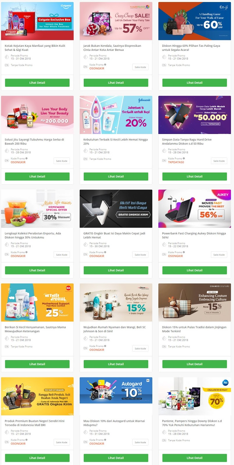 Tokopedia - Promo Lengkap Diskon Multi Produk Periode 15 - 21 Okt 2018