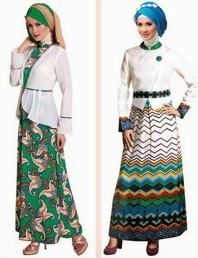 Desain baju muslim gamis brokat casual