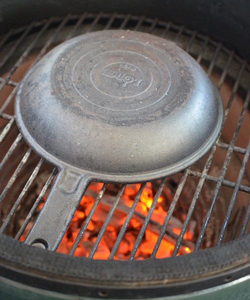 Stripping Lodge Cast Iron on a Big Green Egg.