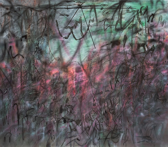 Julie Mehretu Conjured Parts (eye), Ferguson, 2016 Ink and acrylic on canvas 213.4 x 243.8 cm
