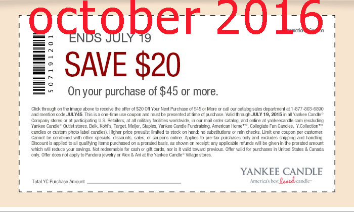 Free Printable Coupons: Yankee Candle Coupons
