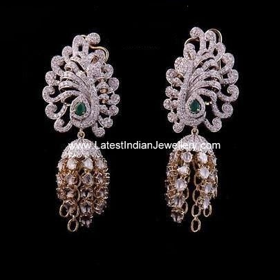 Contemporary Diamond Jhumki Earrings