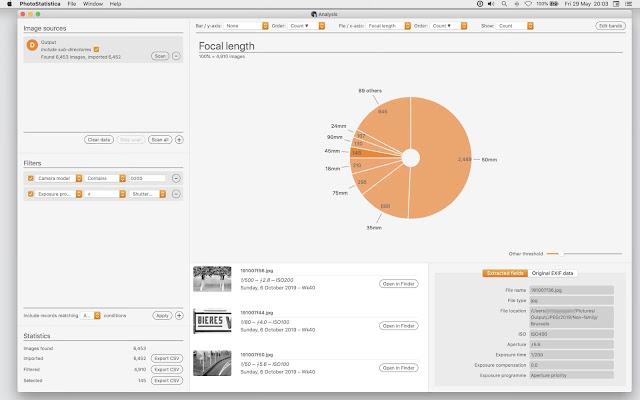 【攝影器材】EXIF 工具軟體 PhotoStatistica,透過數據來分析你的拍攝習慣 - PhotoStatistica 可以做大範圍的 EXIF 資料分析