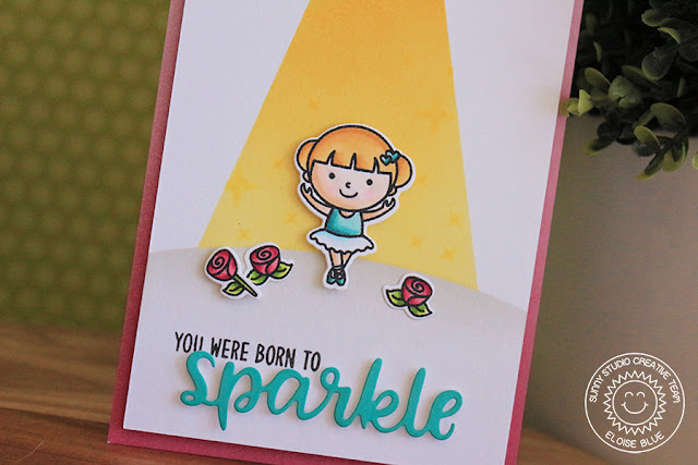 Sunny Studio Stamps: Born to Sparkle Tiny Dancers Spotlight Ballerina Card and Video by Eloise Blue