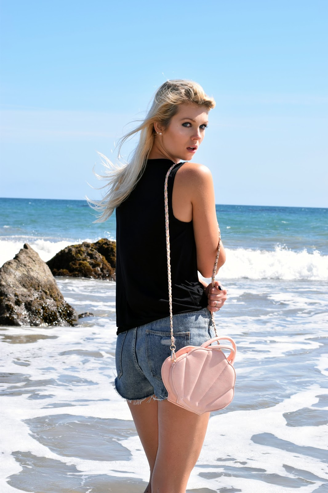sincerely sweet boutique, mermaid, beach babe, beach, malibu, shell purse