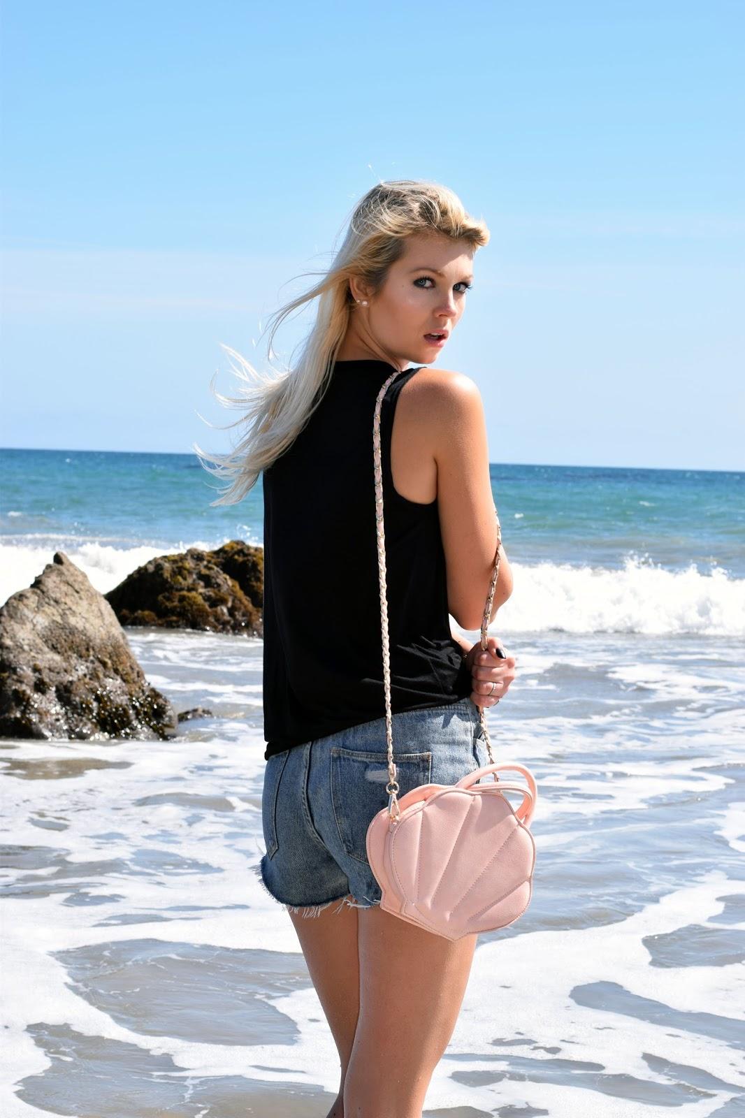 sincerely sweet boutique, mermaid, beach babe, beach, malibu, shell purse