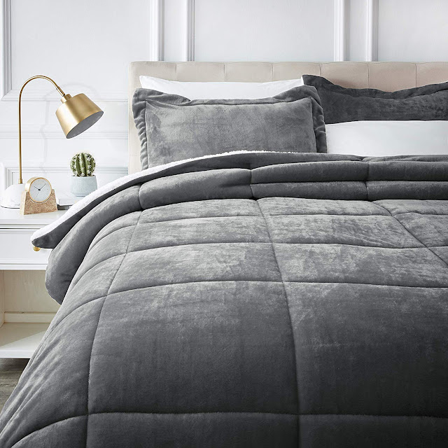 AmazonBasics Ultra-Soft Micromink Sherpa Comforter Bed Set