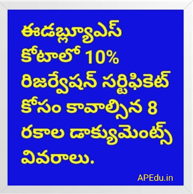10% reservation in EWS quota ... Details of 8 documents required for certificate
