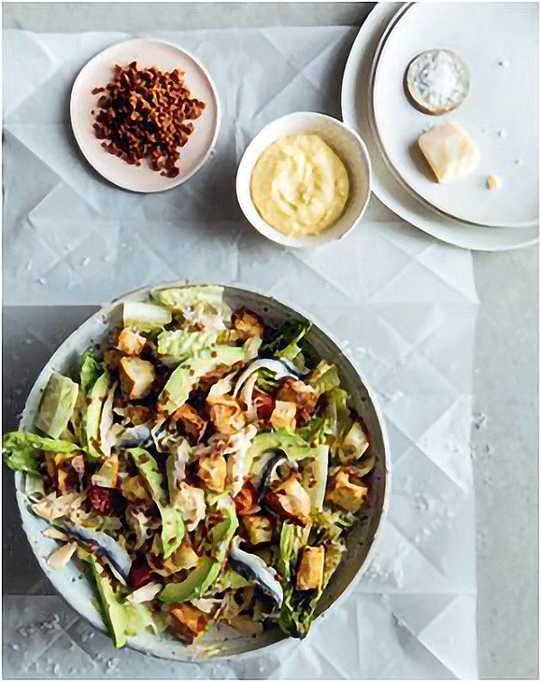 GRILLED ROMAINE CHICKEN CAESAR WITH AVOCADO
