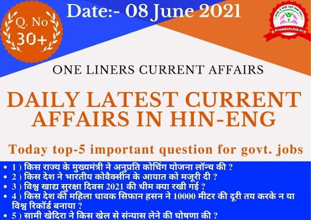 Today Current Affairs 08 June 2021