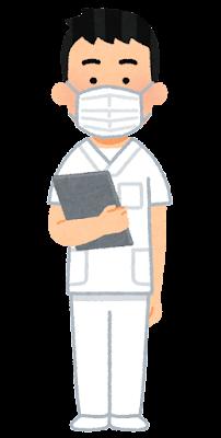 白いスクラブを着た医療従事者のイラスト(男性)