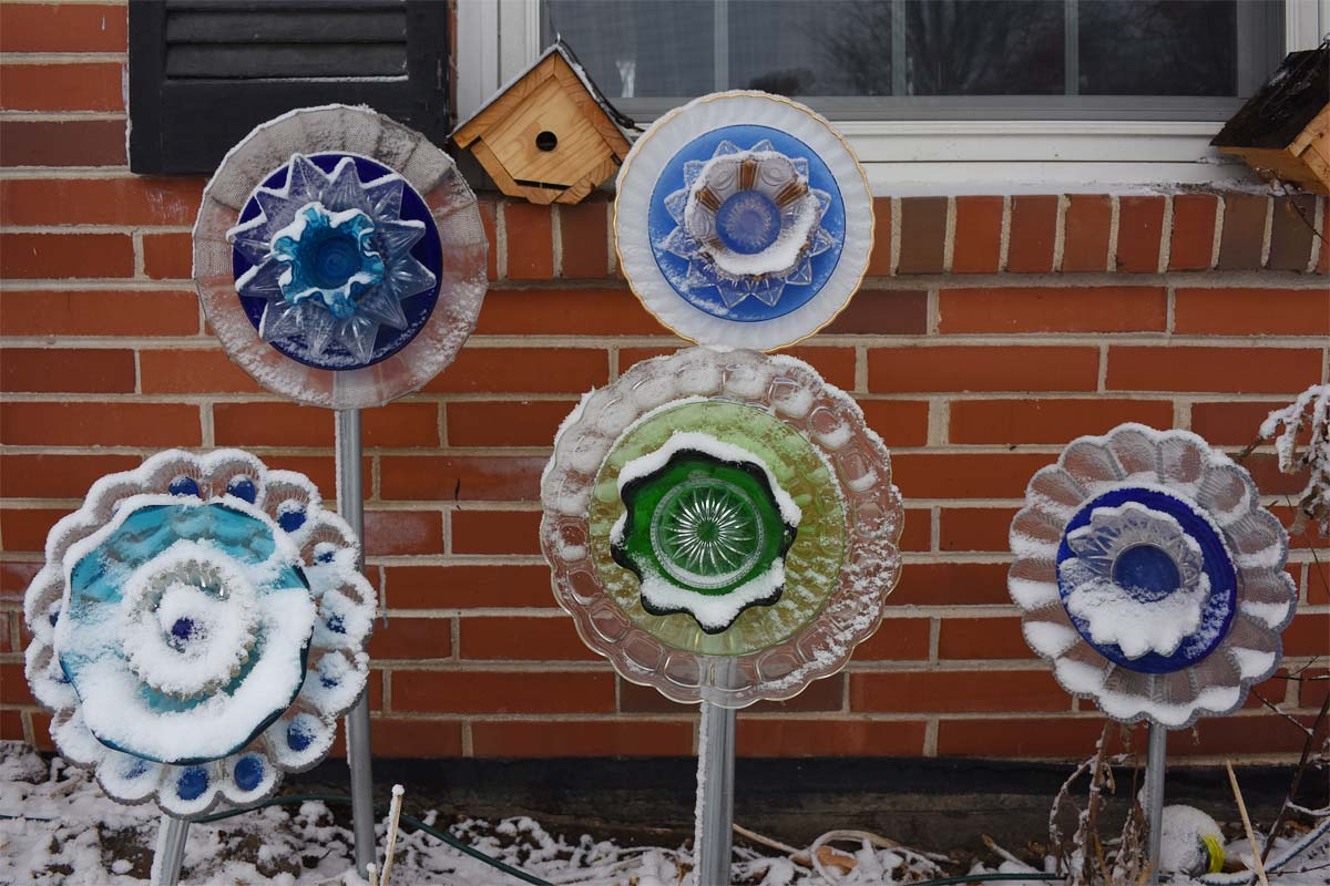 Glass Garden Flowers in Snow
